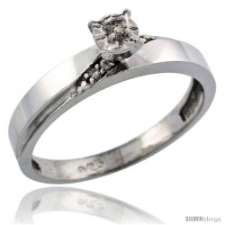 Sterling Silver Diamond Engagement Ring, w/ 0.06 Carat Brilliant Cut Diamonds, 1/8in. (3.5mm) wide -Style Ag115er