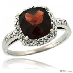 14k White Gold Diamond Garnet Ring 2.08 ct Cushion cut 8 mm Stone 1/2 in wide