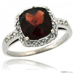 14k White Gold Diamond Garnet Ring 2.08 ct Cushion cut 8 mm Stone 1/2 in wide