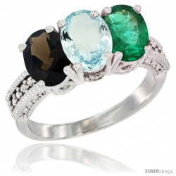 14K White Gold Natural Smoky Topaz, Aquamarine & Emerald Ring 3-Stone 7x5 mm Oval Diamond Accent