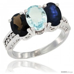14K White Gold Natural Smoky Topaz, Aquamarine & Blue Sapphire Ring 3-Stone 7x5 mm Oval Diamond Accent
