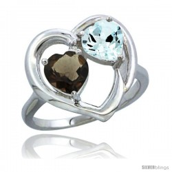 14k White Gold 2-Stone Heart Ring 6mm Natural Smoky Topaz & Aquamarine Diamond Accent