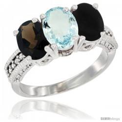 14K White Gold Natural Smoky Topaz, Aquamarine & Black Onyx Ring 3-Stone 7x5 mm Oval Diamond Accent