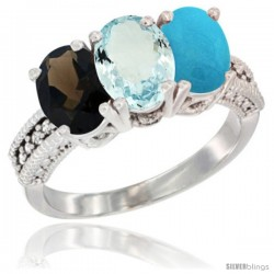 14K White Gold Natural Smoky Topaz, Aquamarine & Turquoise Ring 3-Stone 7x5 mm Oval Diamond Accent