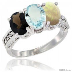 14K White Gold Natural Smoky Topaz, Aquamarine & Opal Ring 3-Stone 7x5 mm Oval Diamond Accent
