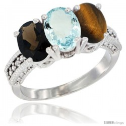 14K White Gold Natural Smoky Topaz, Aquamarine & Tiger Eye Ring 3-Stone 7x5 mm Oval Diamond Accent