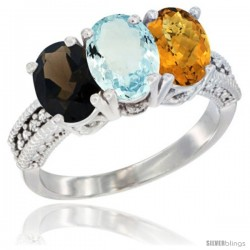 14K White Gold Natural Smoky Topaz, Aquamarine & Whisky Quartz Ring 3-Stone 7x5 mm Oval Diamond Accent