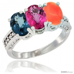 10K White Gold Natural London Blue Topaz, Pink Topaz & Coral Ring 3-Stone Oval 7x5 mm Diamond Accent