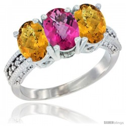 14K White Gold Natural Pink Topaz Ring with Whisky Quartz 3-Stone 7x5 mm Oval Diamond Accent