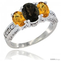 14k White Gold Ladies Oval Natural Smoky Topaz 3-Stone Ring with Whisky Quartz Sides Diamond Accent