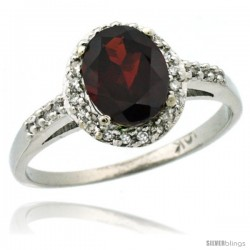 14k White Gold Diamond Garnet Ring Oval Stone 8x6 mm 1.17 ct 3/8 in wide