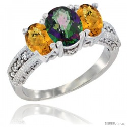 14k White Gold Ladies Oval Natural Mystic Topaz 3-Stone Ring with Whisky Quartz Sides Diamond Accent