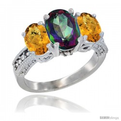 14K White Gold Ladies 3-Stone Oval Natural Mystic Topaz Ring with Whisky Quartz Sides Diamond Accent