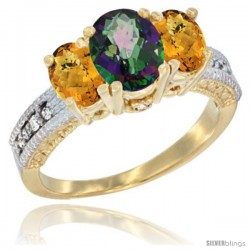 14k Yellow Gold Ladies Oval Natural Mystic Topaz 3-Stone Ring with Whisky Quartz Sides Diamond Accent