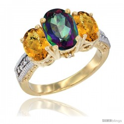 14K Yellow Gold Ladies 3-Stone Oval Natural Mystic Topaz Ring with Whisky Quartz Sides Diamond Accent