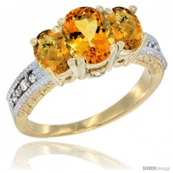 14k Yellow Gold Ladies Oval Natural Citrine 3-Stone Ring with Whisky Quartz Sides Diamond Accent