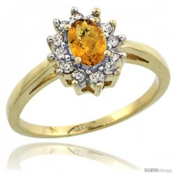 14k Yellow Gold whisky Quartz Diamond Halo Ring Oval Shape 1.2 Carat 6X4 mm, 1/2 in wide