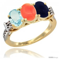 10K Yellow Gold Natural Aquamarine, Coral & Lapis Ring 3-Stone Oval 7x5 mm Diamond Accent