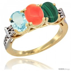 10K Yellow Gold Natural Aquamarine, Coral & Malachite Ring 3-Stone Oval 7x5 mm Diamond Accent