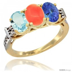 10K Yellow Gold Natural Aquamarine, Coral & Tanzanite Ring 3-Stone Oval 7x5 mm Diamond Accent