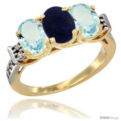 10K Yellow Gold Natural Lapis & Aquamarine Sides Ring 3-Stone Oval 7x5 mm Diamond Accent