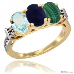 10K Yellow Gold Natural Aquamarine, Lapis & Malachite Ring 3-Stone Oval 7x5 mm Diamond Accent