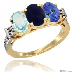 10K Yellow Gold Natural Aquamarine, Lapis & Tanzanite Ring 3-Stone Oval 7x5 mm Diamond Accent