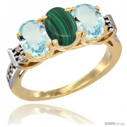 10K Yellow Gold Natural Malachite & Aquamarine Sides Ring 3-Stone Oval 7x5 mm Diamond Accent