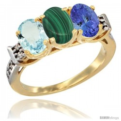 10K Yellow Gold Natural Aquamarine, Malachite & Tanzanite Ring 3-Stone Oval 7x5 mm Diamond Accent