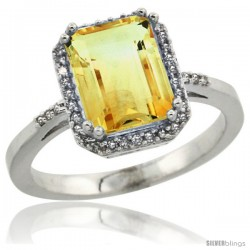 10k White Gold Diamond Citrine Ring 2.53 ct Emerald Shape 9x7 mm, 1/2 in wide