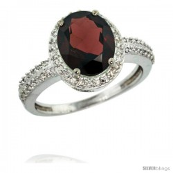 14k White Gold Diamond Garnet Ring Oval Stone 10x8 mm 2.4 ct 1/2 in wide