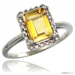 10k White Gold Diamond Citrine Ring 1.6 ct Emerald Shape 8x6 mm, 1/2 in wide