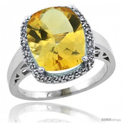 10k White Gold Diamond Citrine Ring 5.17 ct Checkerboard Cut Cushion 12x10 mm, 1/2 in wide