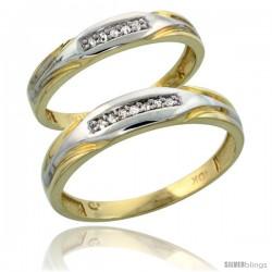 10k Yellow Gold Diamond 2 Piece Wedding Ring Set His 4.5mm & Hers 3.5mm -Style Ljy114w2