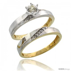 10k Yellow Gold Ladies' 2-Piece Diamond Engagement Wedding Ring Set, 1/8 in wide -Style Ljy115e2