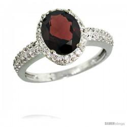 14k White Gold Diamond Garnet Ring Oval Stone 9x7 mm 1.76 ct 1/2 in wide