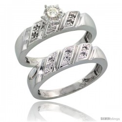 Sterling Silver 2-Piece Diamond Engagement Ring Set, w/ 0.10 Carat Brilliant Cut Diamonds, 3/16 in. (5mm) wide