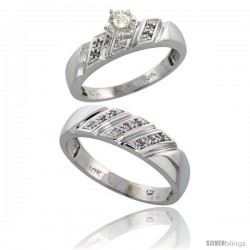 Sterling Silver 2-Piece Diamond Ring Set ( Engagement Ring & Man's Wedding Band ), w/ 0.12 Carat Brilliant Cut Diamonds, ( 5mm