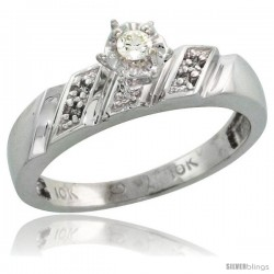 Sterling Silver Diamond Engagement Ring, w/ 0.07 Carat Brilliant Cut Diamonds, 3/16 in. (5mm) wide