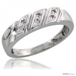 Sterling Silver Ladies' Diamond Band, w/ 0.03 Carat Brilliant Cut Diamonds, 3/16 in. (5mm) wide