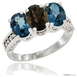 10K White Gold Natural Smoky Topaz & London Blue Topaz Sides Ring 3-Stone Oval 7x5 mm Diamond Accent