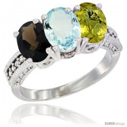 14K White Gold Natural Smoky Topaz, Aquamarine & Lemon Quartz Ring 3-Stone 7x5 mm Oval Diamond Accent