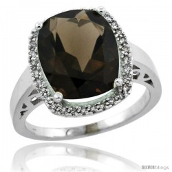 14k White Gold Diamond Smoky Topaz Ring 5.17 ct Checkerboard Cut Cushion 12x10 mm, 1/2 in wide