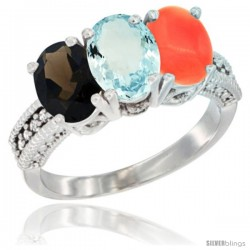 14K White Gold Natural Smoky Topaz, Aquamarine & Coral Ring 3-Stone 7x5 mm Oval Diamond Accent