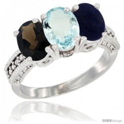 14K White Gold Natural Smoky Topaz, Aquamarine & Lapis Ring 3-Stone 7x5 mm Oval Diamond Accent