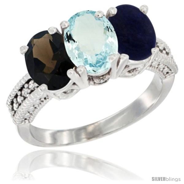 https://www.silverblings.com/60718-thickbox_default/14k-white-gold-natural-smoky-topaz-aquamarine-lapis-ring-3-stone-7x5-mm-oval-diamond-accent.jpg