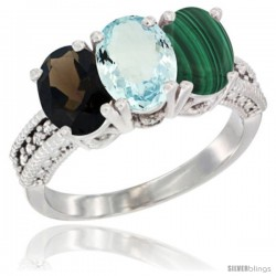 14K White Gold Natural Smoky Topaz, Aquamarine & Malachite Ring 3-Stone 7x5 mm Oval Diamond Accent