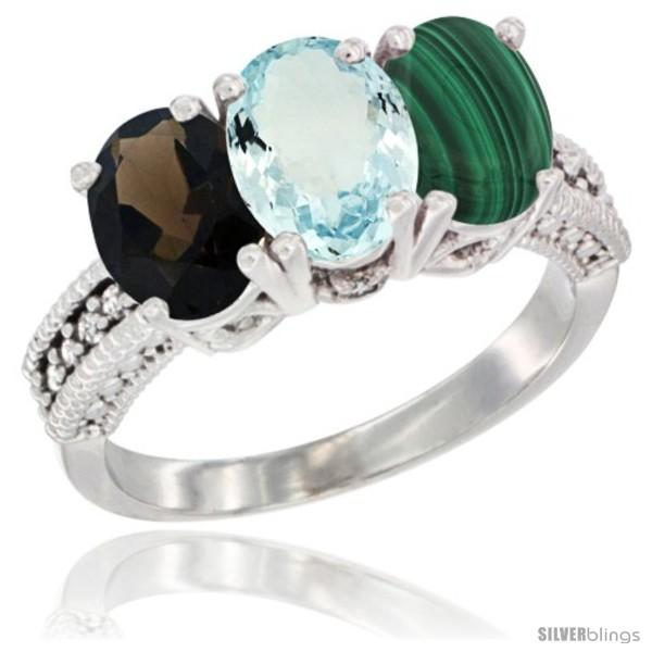 https://www.silverblings.com/60720-thickbox_default/14k-white-gold-natural-smoky-topaz-aquamarine-malachite-ring-3-stone-7x5-mm-oval-diamond-accent.jpg