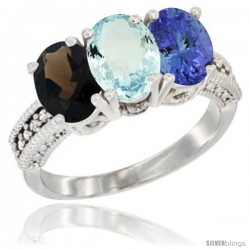 14K White Gold Natural Smoky Topaz, Aquamarine & Tanzanite Ring 3-Stone 7x5 mm Oval Diamond Accent