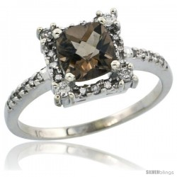 14k White Gold Diamond Halo Smoky Topaz Ring 1.2 ct Checkerboard Cut Cushion 6 mm, 11/32 in wide
